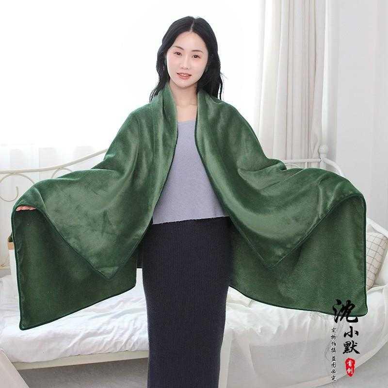 多功能懒人毯 膝盖毯披肩办公室午睡盖毯丽丝绒毛毯斗篷家居服