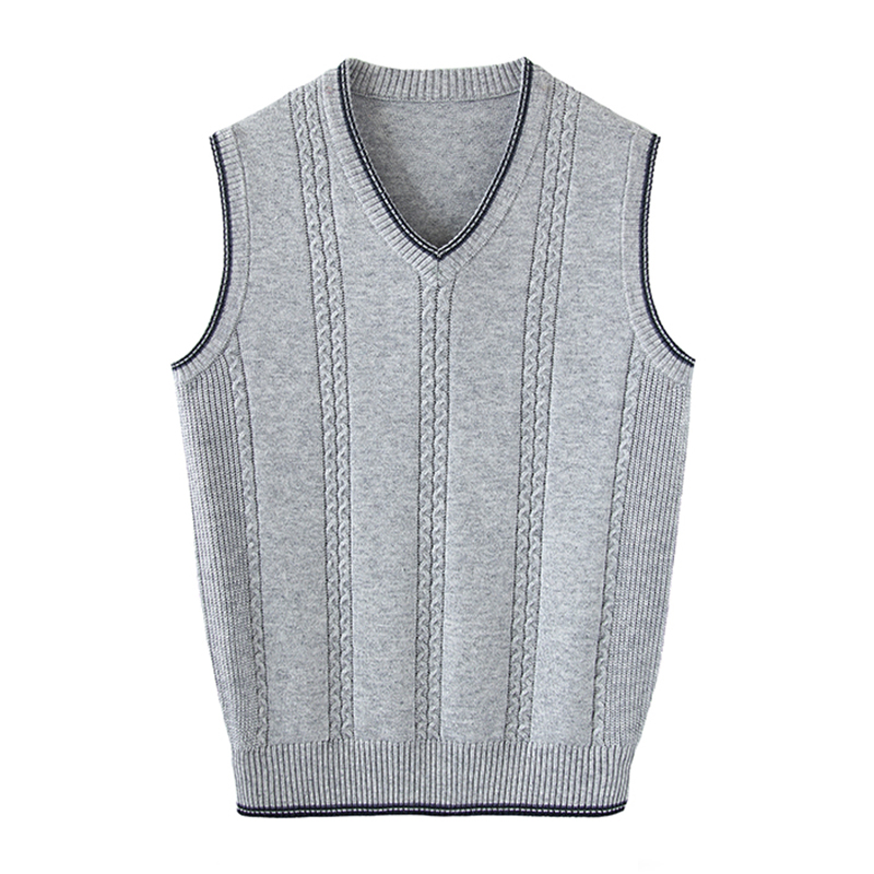Knitted sweater mens Vest spring and autumn large young and middle-aged cut sleeve V-neck wool jacket versatile fashionable and fat casual vest