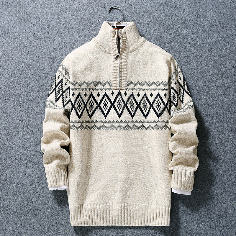 Semi turtleneck mens two color woolen boys loose knit Pullover