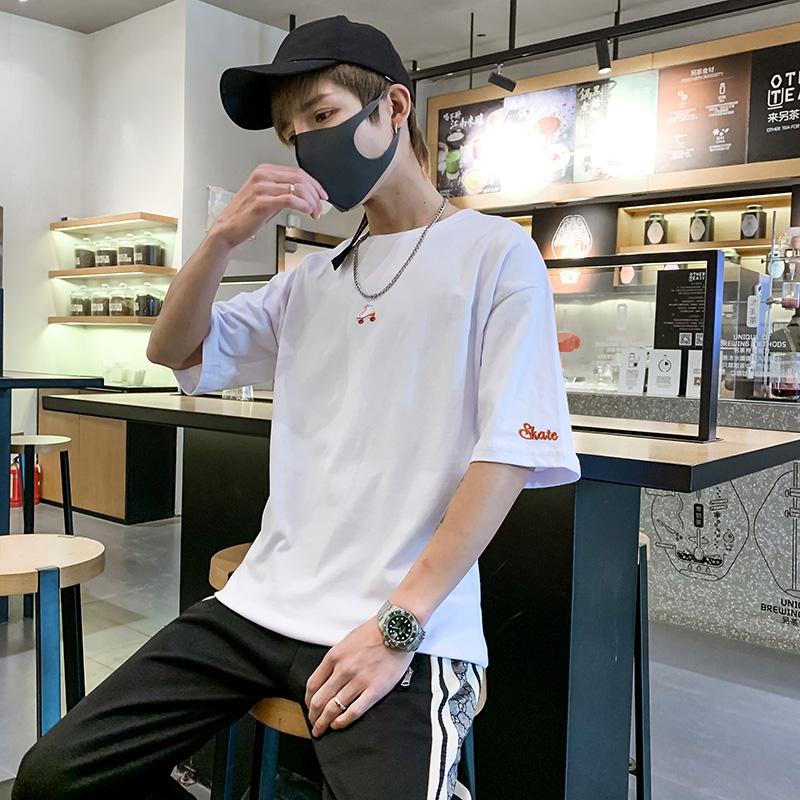 夏季短袖男士潮流宽松男生白色t恤(非品牌)