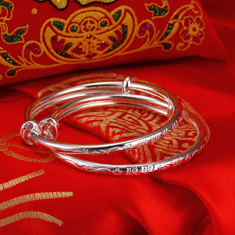 Yingxiang 3mm Round embossed smart Bracelet BABY SILVER BRACELET a pair of baby bracelets full moon gift entrance gift