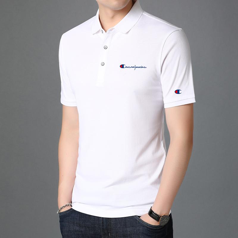 2021夏季新款冰丝棉男士翻领冠军刺绣短袖T恤纯色POLO衫男装