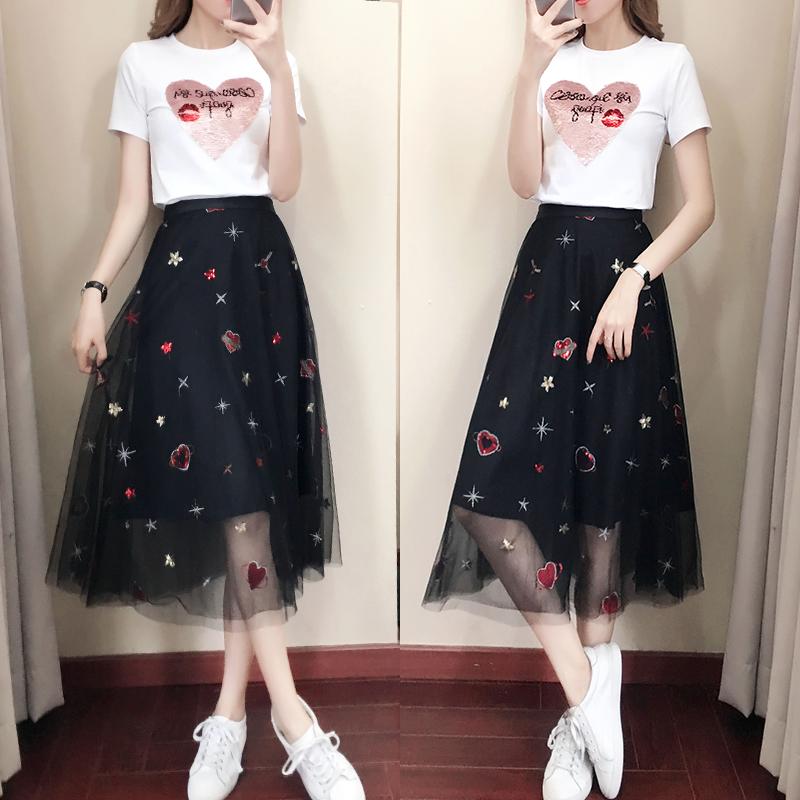 连衣裙2021新款春夏女装亮片半身裙