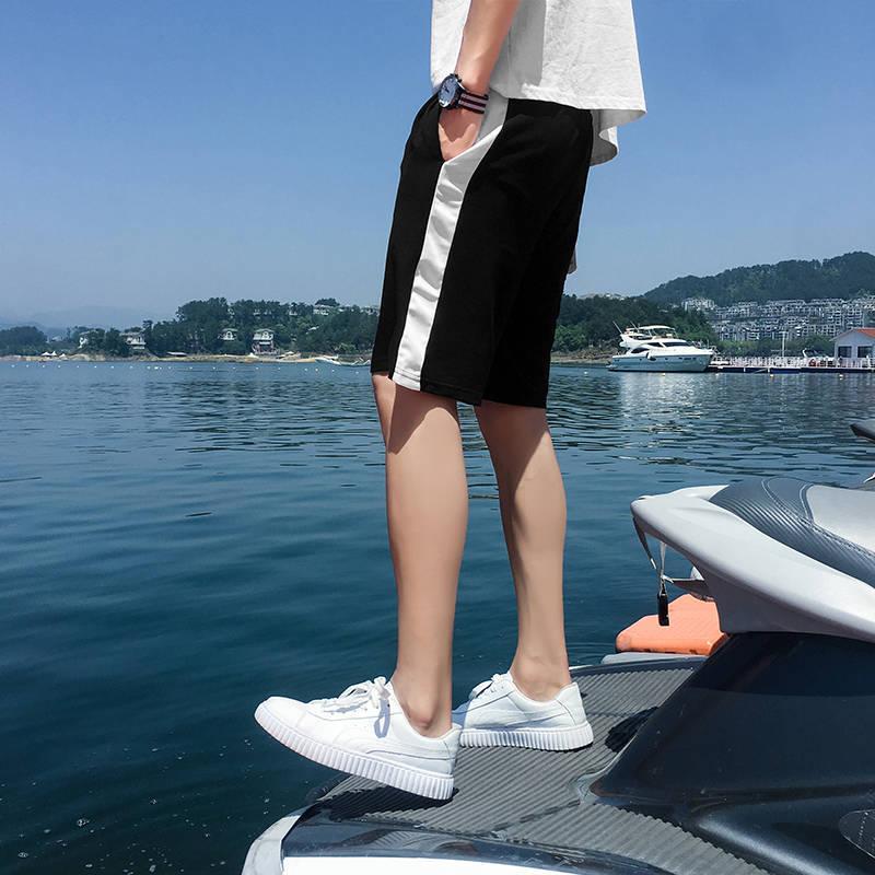 Summer Shorts mens social trend Capris striped casual pants student sweatpants Korean version black straight tube