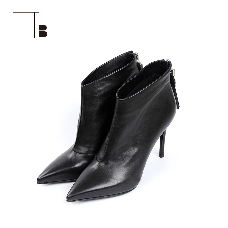 TB / tuobei womens autumn and winter short boots pointed tassel ZIPPER HIGH HEEL ANKLE BOOTS