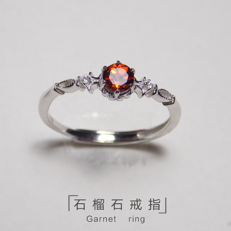 S925 silver Korean fashion Wine Red Garnet Ring Chaoren student ring silver jewelry jewelry gem youth