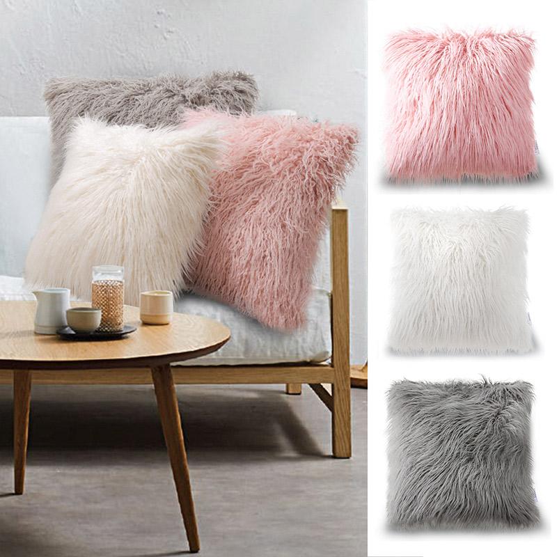 长毛绒抱枕套含芯正方形ins靠垫沙发靠背垫北欧纯色飘窗毛毛靠枕