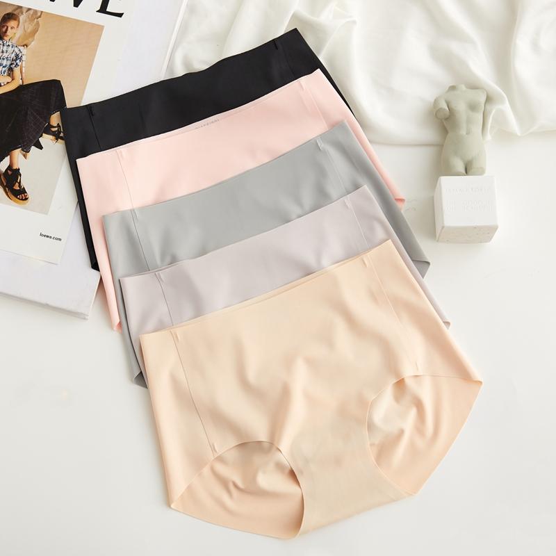 不包邮米图立体臀型一片式内裤女士无痕冰丝薄款中腰夏季透气蚕丝三角裤