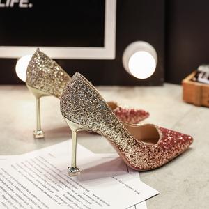 高跟鞋女细跟2021新款百搭银色法式婚鞋水晶鞋性感网红尖头大码40