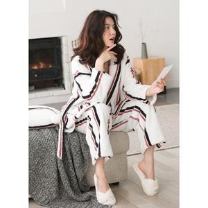 静韵2020冬季女装睡衣长袖保暖居家套装时尚条纹女士珊瑚绒家居服