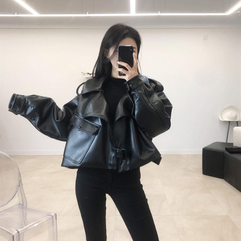 PU leather womens short style spring 2019 new oversize loose net red jacket high waist locomotive jacket fashion