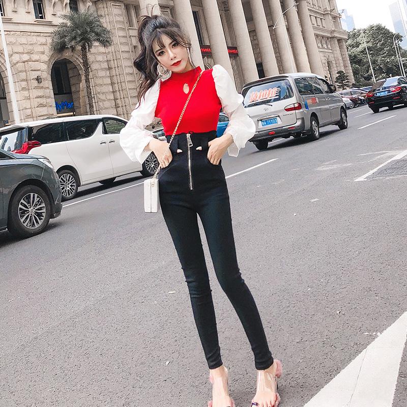 实拍韩版时尚长袖泡泡袖拼接收腰镂空针织衫+高腰拉链小脚裤 实价