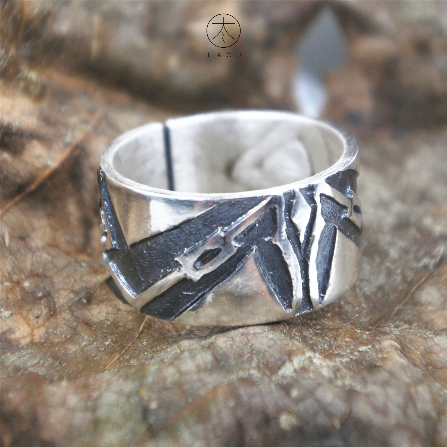 Jinggu independent silver design brand Dali creative hand carved tile cat ring Zuyin s999