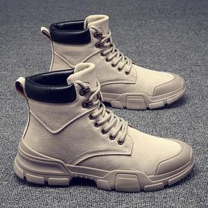冬季男鞋子加绒保暖棉鞋高帮男士马丁靴工装靴百搭潮鞋雪地男靴子
