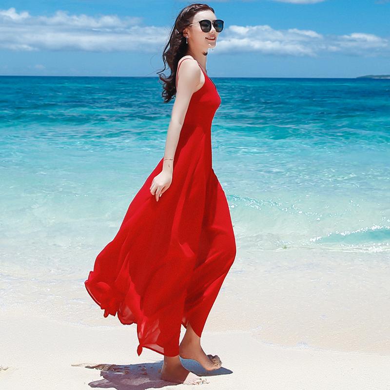 女夏红色吊带长裙雪纺连衣裙露背裙子波西米亚长裙海边渡假沙滩裙