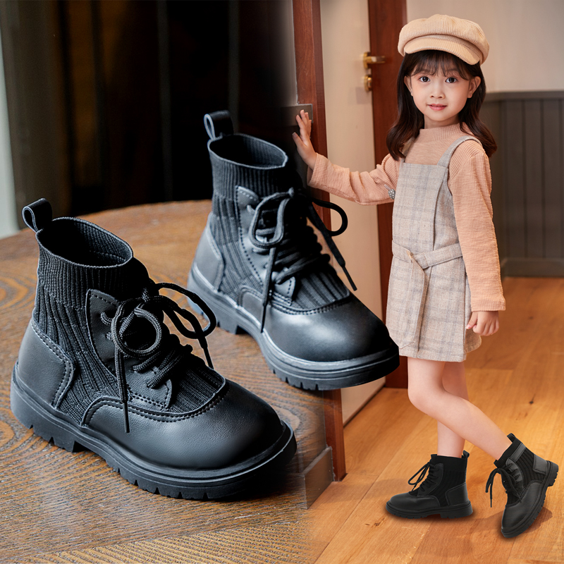 Girls Knitted Martin boots single Boots Black British style spring and autumn 2020 childrens short boots fashion brand net red boots