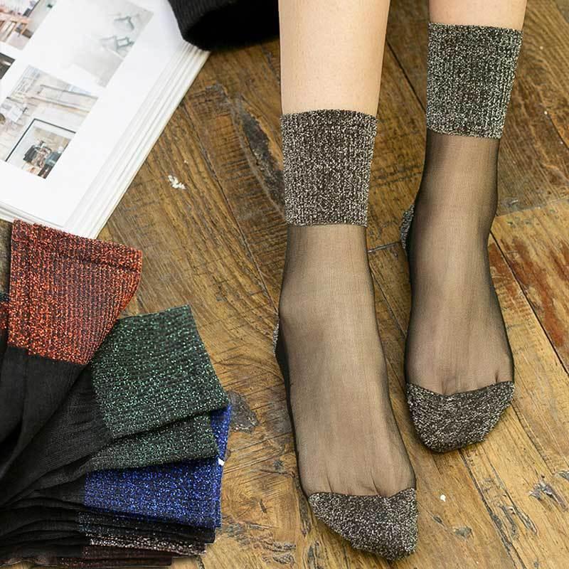 玻璃丝袜女水晶日系性感冬季韩版棉底防滑透明金银丝中筒冰丝袜
