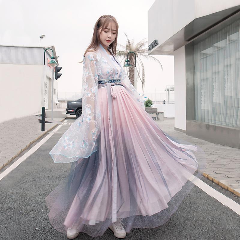 纪卡图汉服女夏改良日常汉元素渐变色对襟齐腰襦裙大袖衫六米摆
