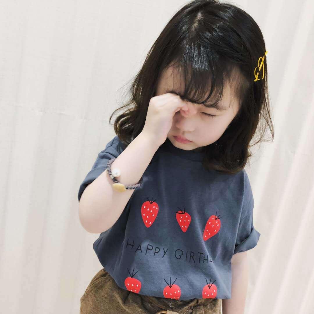 女童短袖T恤2021新款宝宝纯棉圆领草莓夏装中小童洋气上衣打底衫