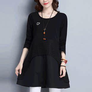 酷伽韩版时尚通勤圆领长袖宽松显瘦套头优雅拼接连衣裙6678