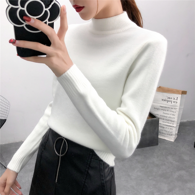 New Korean Pullover half high neck sweater in autumn / winter 2019 womens long sleeve slim and thickened bottoming sweater top fashion