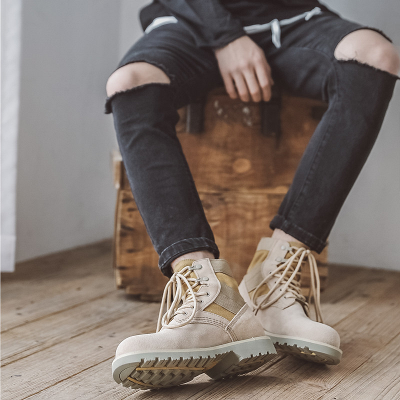 マーティンの靴の男性は高い空気を通すように手伝います韓版の英倫は高く靴のネットの赤いカップルの靴の湿っている靴の労働者に短い靴の男性の靴を手伝います。