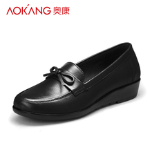 Aokang women's shoes middle-aged and old women's shoes leather soft sole flat sole single shoes non slip slope heel round head large casual women