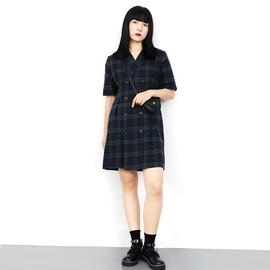 赫宁大码西装裙2020夏季新款微胖mm复古显瘦遮肚双排扣格子连衣裙
