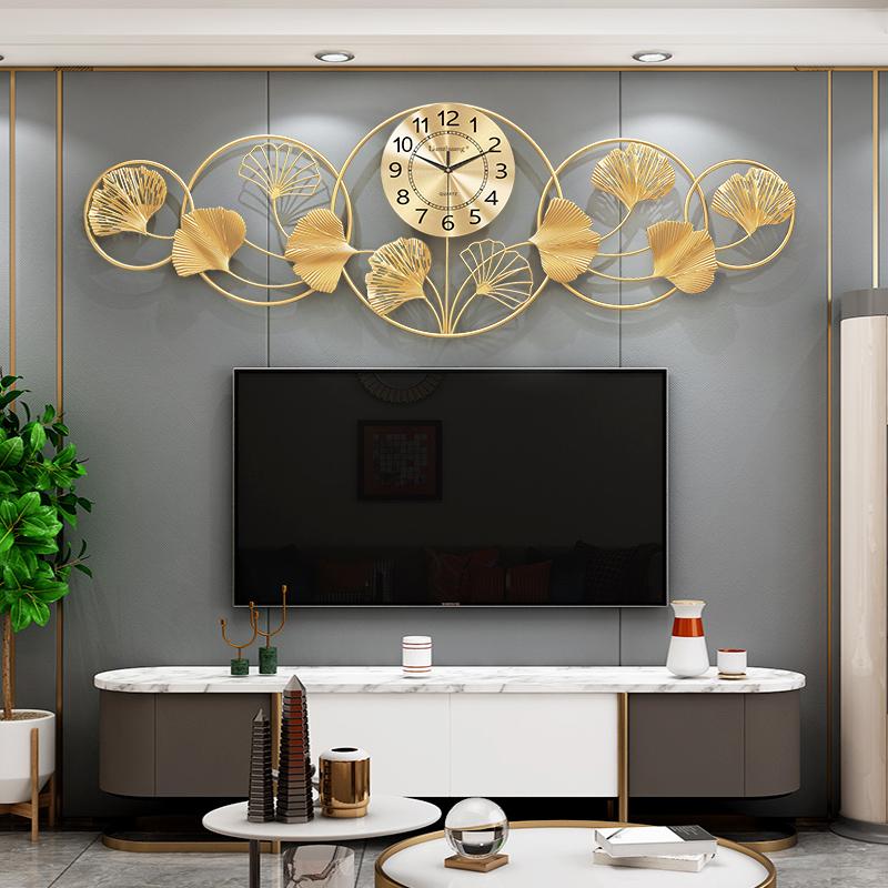 新中式轻奢银杏挂钟时钟客厅创意简约餐厅壁挂石英钟家用静音钟表 Изображение 1