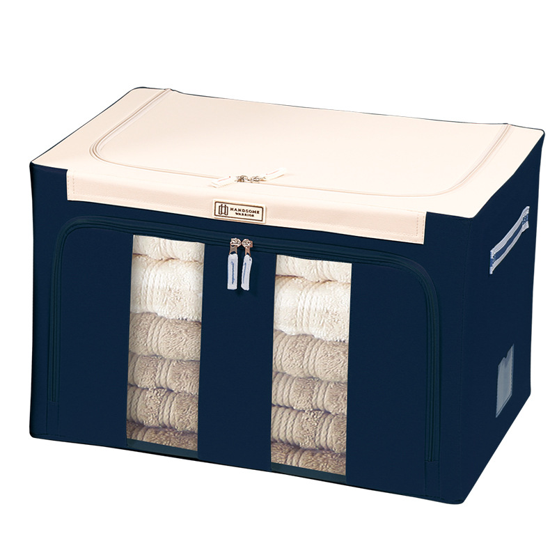 Clothes storage box Oxford fabric spinning folding clothes sorting box steel frame large household storage box canvas
