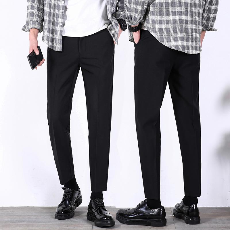 韩版西裤男商务职业休闲裤子男士修身免烫直筒小脚大码西装裤春季