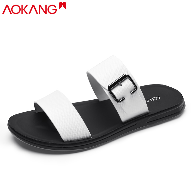 Aokang 2020 summer new slippers men's outdoor beach sandals Korean fashion trendy outer wear personalized sandals