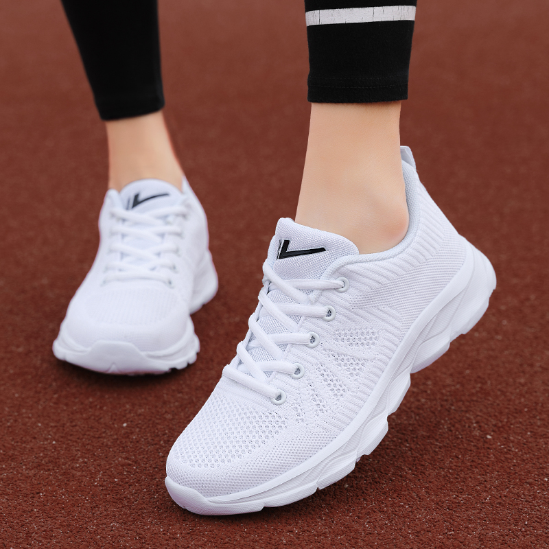 Huili womens shoes, sports shoes, 2021 new running shoes, autumn and winter students flying woven breathable leisure shoes, Korean fitness shoes