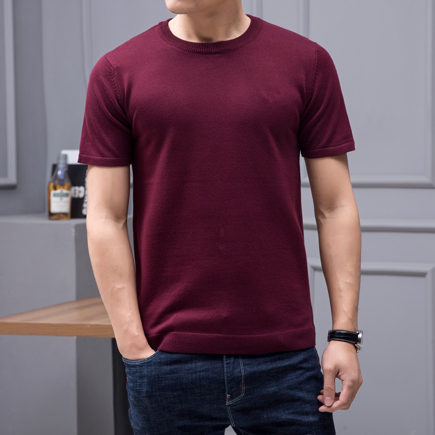 Authentic Qingcang mens solid color half sleeve T-shirt anti pilling red sweater spring short sleeve sweater T-shirt fashion