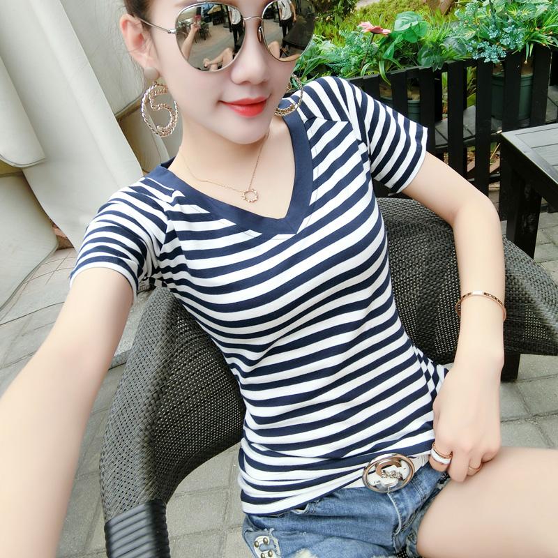2018夏季新款女装简约修身显瘦百搭纯棉半袖体恤条纹V领短袖t恤女