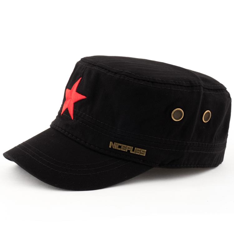 红星帽子男春夏中年五角星军帽男韩版百搭黑色潮人青年平顶帽休闲