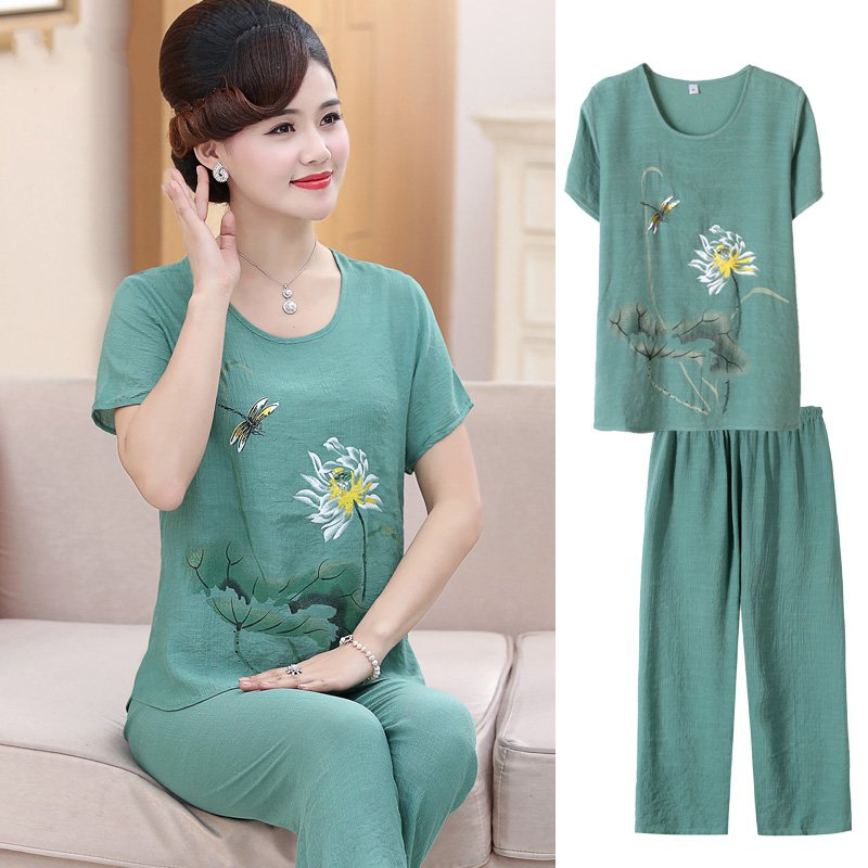 Large 40 year old Chinese dress mother summer dress short sleeve round neck Jacket Womens clothes womens middle and long sports womens half sleeve summer