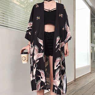 防曬衣夏季原宿風bf寬鬆長款日式情侶和風繫帶和服薄外套女學生潮
