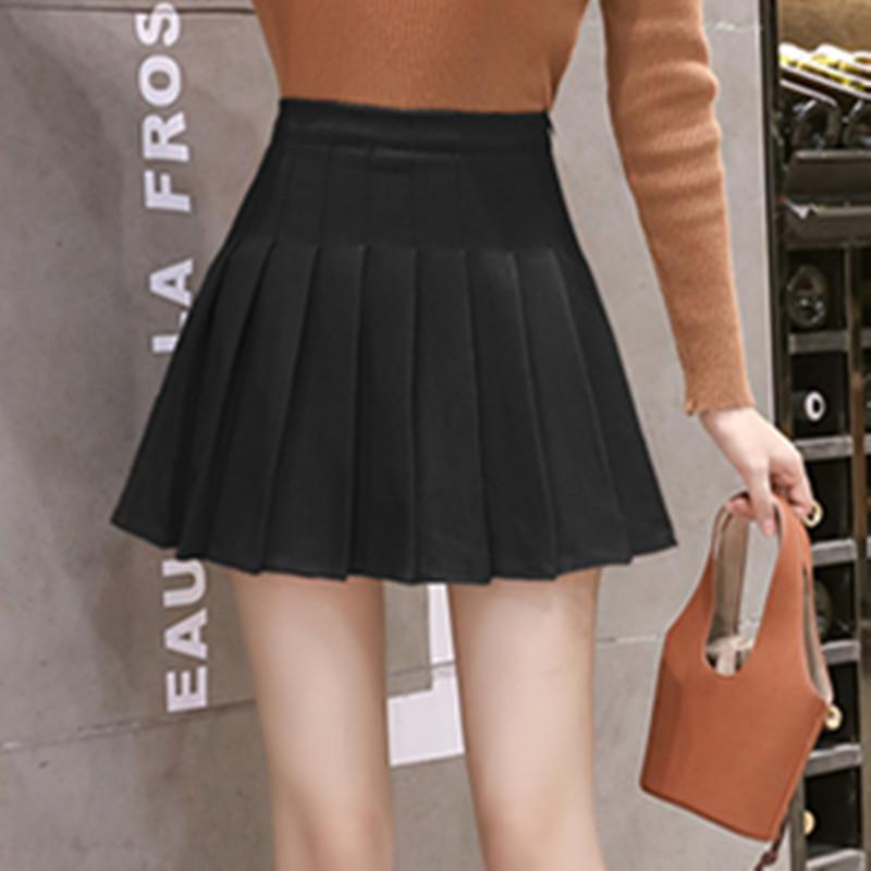高腰短裙女2021秋冬新款a字毛呢百褶半身裙jk黑色顯瘦褲裙子