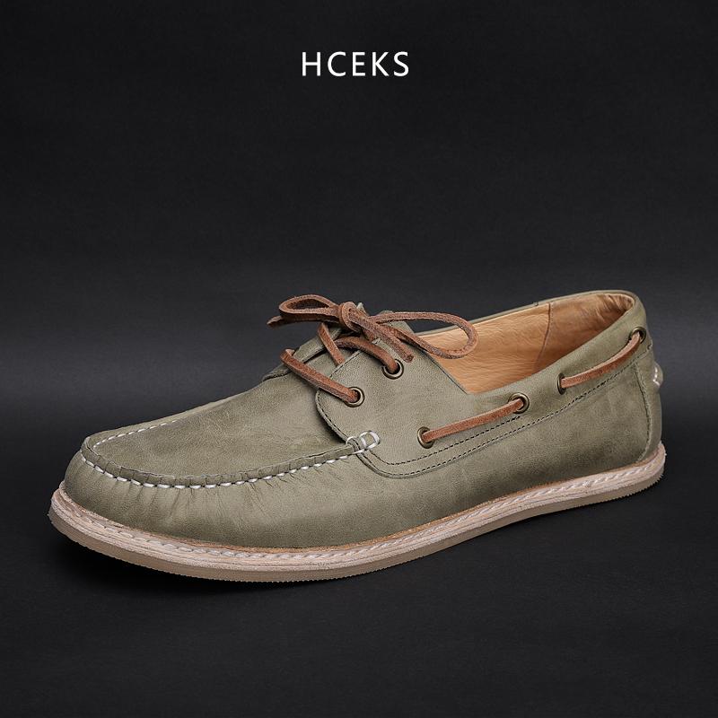 男帆船鞋一脚蹬懒人乐福鞋豆豆鞋