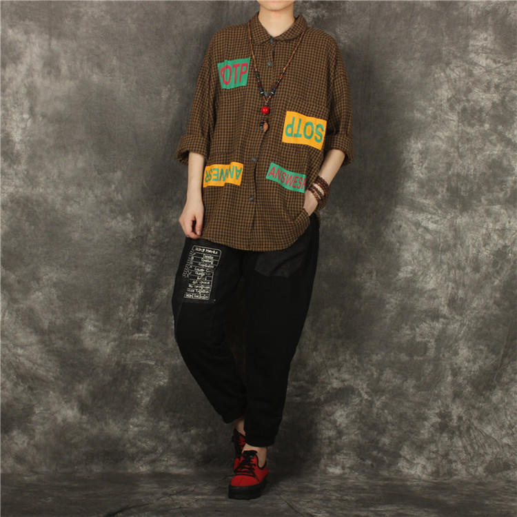 Ysbs spring new color square letter printing loose large literary style Plaid Cotton and linen shirt
