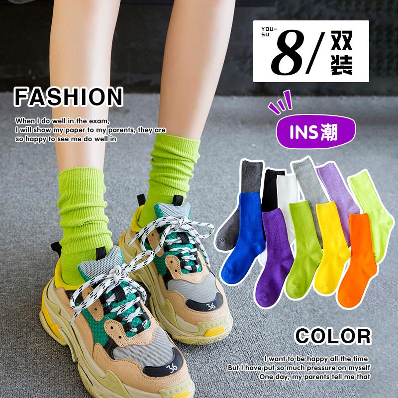 袜子女夏中筒袜ins潮夏季薄款长筒堆堆袜春秋彩色糖果色夏天长袜