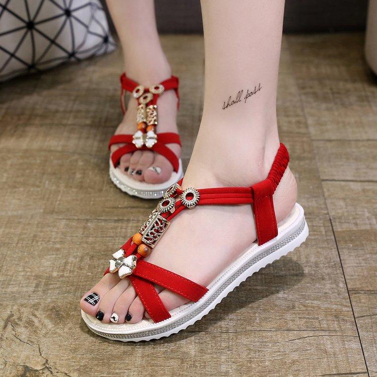 2021夏季新款韩版波西米亚沙滩女凉鞋平底百搭松紧带学生女鞋