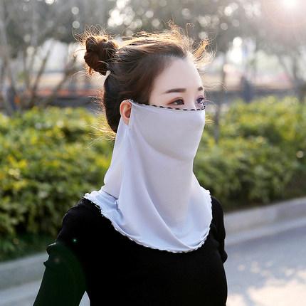 防晒口罩女夏季透气遮脸薄款冰丝围脖多功能骑车开车遮阳护颈面纱