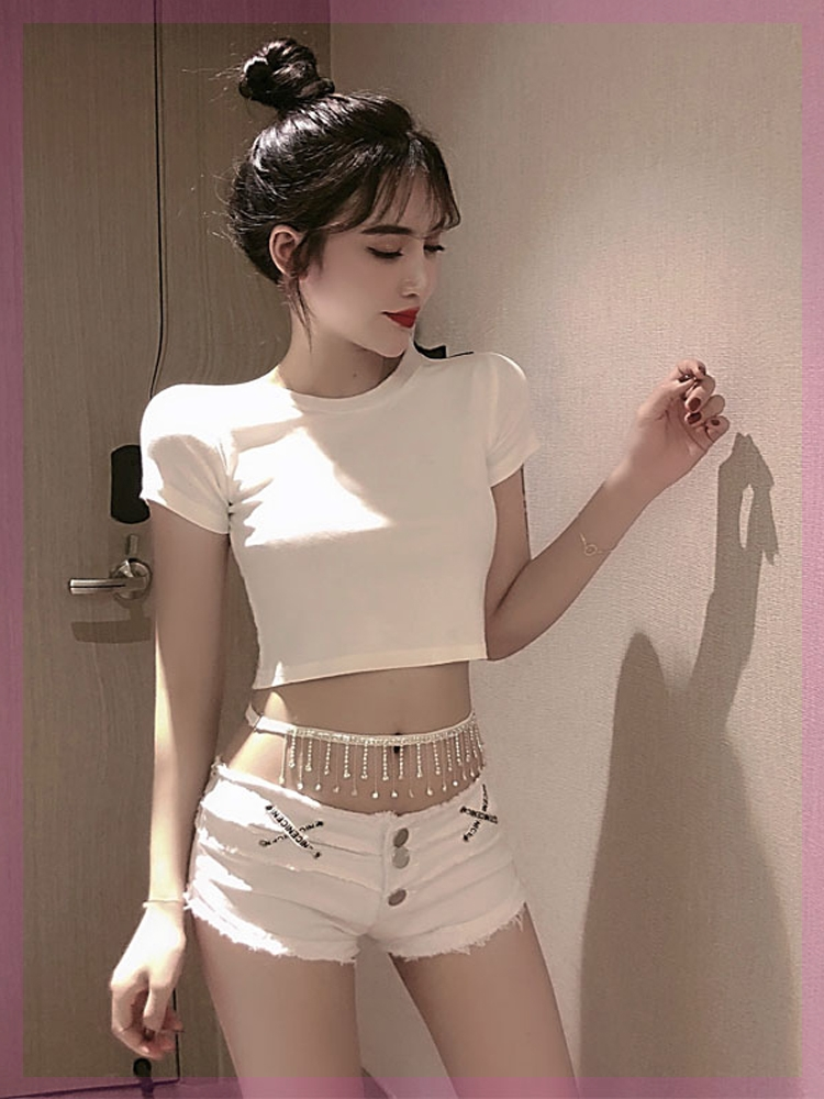 Fashion sexy short open navel chain T-Shirt Top + low waist denim shorts night club two piece trampy suit