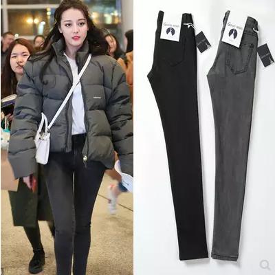 烟灰色牛仔裤女2020春秋新款黑色高腰修身显瘦紧身九分小脚长裤子