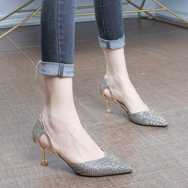 21春季新款中跟高跟鞋女网红鞋尖头性感单鞋女细跟中空亮片宴会鞋