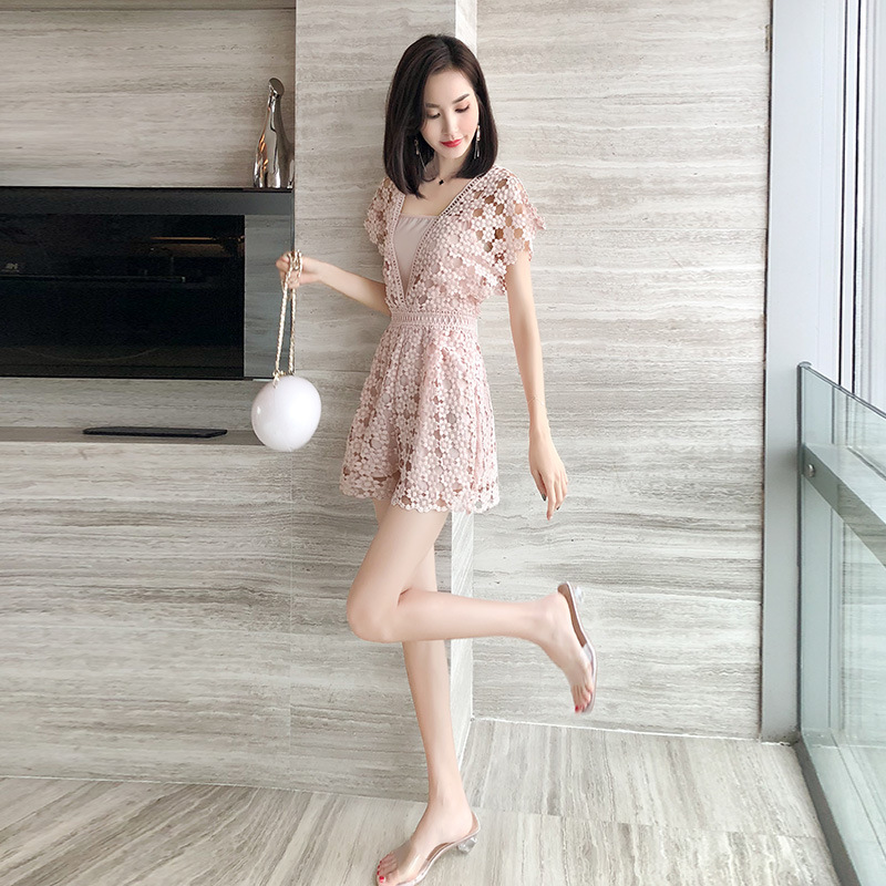 2020 summer new women's dress hollow out pink lace thin sexy one-piece pants A-line short skirt trend