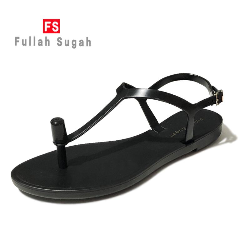 Fullah sugah2020 summer new comfortable external wearing clip foot beach solid color non slip flat bottom sandals for women