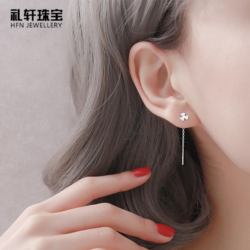 耳环女纯银耳线2020年新款潮耳坠气质长款耳钩银针-双龙银针(礼轩珠宝旗舰店仅售15.8元)